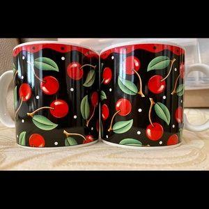 MARY ENGELBREIT Cherries Mugs Set of 4 EUC